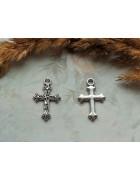 Подвеска металлическая Крест. Цвет черненое серебро