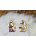 Подвеска металлическая Кот с сердечком. Цвет черненое серебро