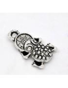 Подвеска металлическая Денежная жаба. Цвет черненое серебро