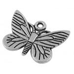 Подвеска металлическая Бабочка 16*22 мм. Цвет черненое серебро