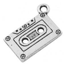 Подвеска металлическая Кассета 20*13 мм. Цвет черненое серебро