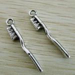 Подвеска металлическая Зубная щетка 30*4 мм. Цвет черненое серебро