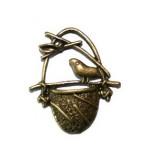 Подвеска металлическая Птица в гнезде 21*18 мм. Цвет бронза