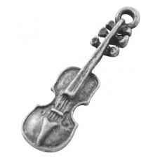 Подвеска металлическая Скрипка 19*7 мм. Цвет черненое серебро