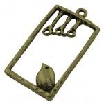 Подвеска металлическая Птица на жерди 34*19 мм. Цвет бронза