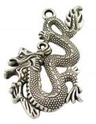 Подвеска металлическая большая Дракон 52*31 мм. Цвет черненое серебро