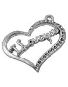 Подвеска металлическая большая Сердце 22*30 мм. Цвет серебро