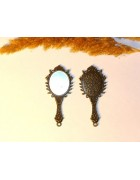 Подвеска металлическая Зеркало овальное 68*32 мм. Цвет бронза