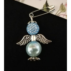 Брошка-ангел голубая
