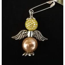 Брошка-ангел желто-золотистая