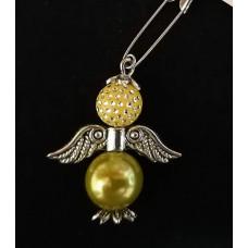 Брошка-ангел желто-оливковая