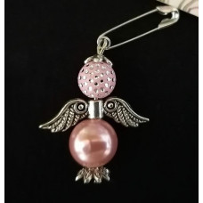 Брошка-ангел розовая