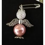 Брошка-ангел бело-розовая