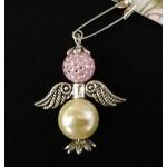 Брошка-ангел розово-кремовая