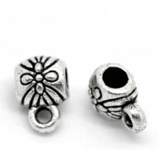 Бейл маленький с цветком 9*6 мм. Цвет черненое серебро