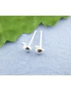 Гвоздики с петлей серебристые с силиконовыми заглушками. 1 пара