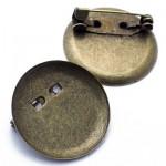 Основа для броши круглая 20 мм. Цвет бронза