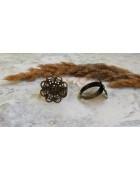 Основа для кольца с площадкой Цветок 23 мм. Цвет бронза