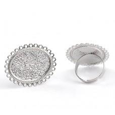 Основа для кольца с площадкой 25*19 мм. Цвет серебро