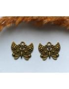 Подвеска металлическая Бабочка с цветами. Цвет бронза