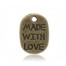 Подвеска металлическая Made with love 11*8 мм. Цвет бронза