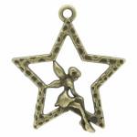 Подвеска металлическая Фея на звезде 28*25 мм. Цвет бронза