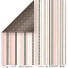 Бумага для скрапбукинга двусторонняя Розовые и серые полосы