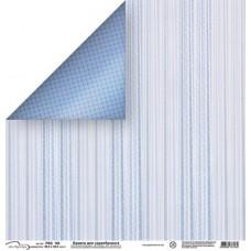 Бумага для скрапбукинга двусторонняя Голубые полоски