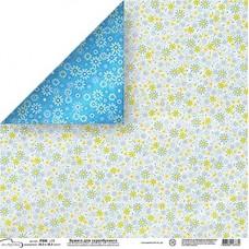 Бумага для скрапбукинга двусторонняя Голубые цветы
