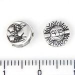 Бусина металлическая Солнце и луна 8 мм