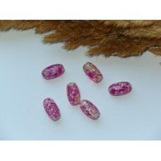 Бусины пластиковые прозрачные с розовыми вкраплениями 14*8 мм