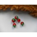 Бусины стеклянные красно-зеленые 8 мм