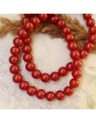 Бусины стеклянные красные с перламутровым эффектом 10 мм