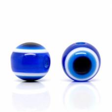 Бусины пластиковые глазки темно-синие. 10 мм