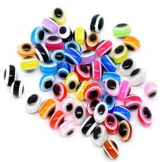 Бусины пластиковые глазки овальные 8*6 мм. Микс 10 шт