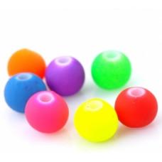 Бусины пластиковые разноцветные неоновые 6 мм. 10 шт