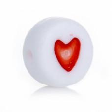 Бусины пластиковые белые с сердечками 7 мм