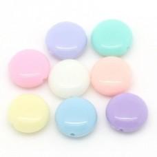 Бусины пластиковые разноцветные плоские 12 мм. 10 шт