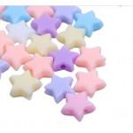 Бусины пластиковые звездочки 10 мм разноцветный микс. 10 шт