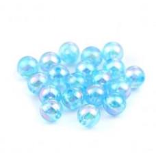 Бусины пластиковые полупрозрачные кракле голубые 8 мм