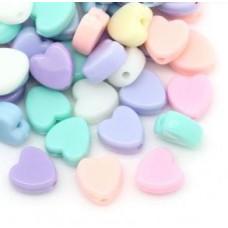 Бусины пластиковые сердечки разноцветный микс 8 мм. 10 шт