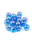 Бусины пластиковые полупрозрачные кракле темно-голубые 8 мм
