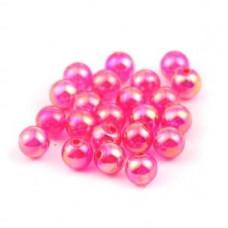 Бусины пластиковые полупрозрачные кракле ярко-розовые 8 мм
