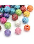 Бусины пластиковые Цветочки разноцветный микс 8 мм. 10 шт