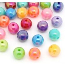 Бусины пластиковые перламутровые разноцветный микс 10 шт. 8 мм