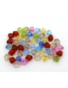 Бусины пластиковые биконус разноцветный микс 6 мм. 10 шт