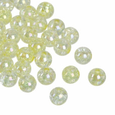Бусины пластиковые полупрозрачные кракле желтые 8 мм