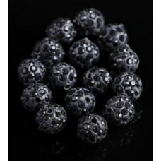 Бусины из полимерной глины со стеклянными стразами черные 10 мм