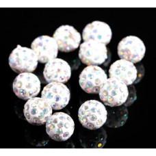 Бусины из полимерной глины со стеклянными радужными стразами белые 10 мм