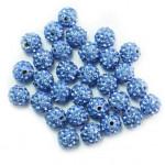 Бусины из полимерной глины со стеклянными стразами голубые 10 мм